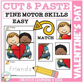 Cut and Paste Fine Motor Skills Puzzle Worksheets: Valentine's Day