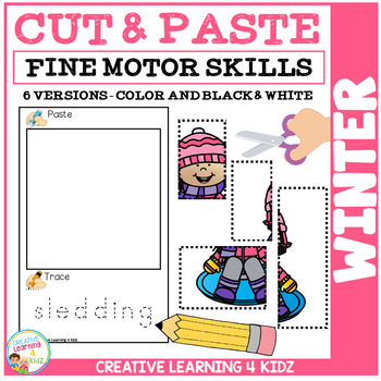 Cut and Paste Fine Motor Skills Puzzle Worksheets: Winter