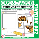 Cut and Paste Fine Motor Skills Puzzle Worksheets: Zoo Animals