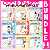 Cut and Paste Fine Motor Skills Puzzle Worksheets: BUNDLE #1