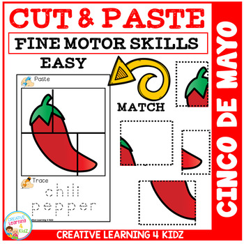 Cut and Paste Fine Motor Skills Puzzle Worksheets: Cinco De Mayo