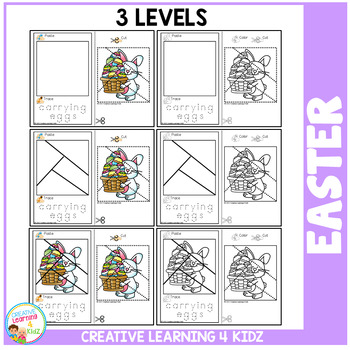 Cut and Paste Fine Motor Skills Puzzle Worksheets: Easter