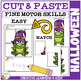 Cut and Paste Fine Motor Skills Puzzle Worksheets: Halloween