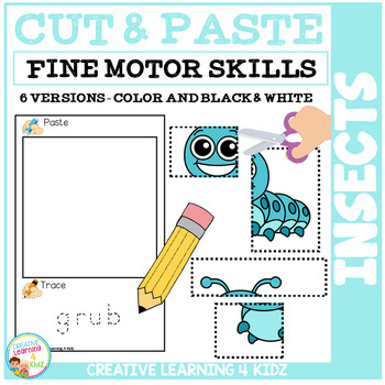 Cut and Paste Fine Motor Skills Worksheets: Insects Puzzles