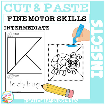 Cut and Paste Fine Motor Skills Puzzle Worksheets: Insects