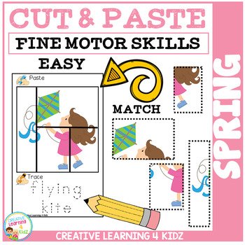 Cut and Paste Fine Motor Skills Puzzle Worksheets: Spring