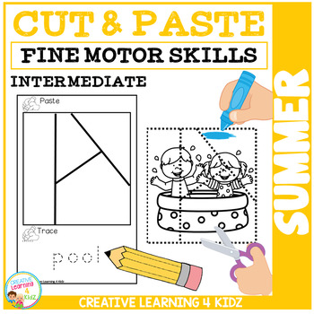 Cut and Paste Fine Motor Skills Puzzle Worksheets: Summer