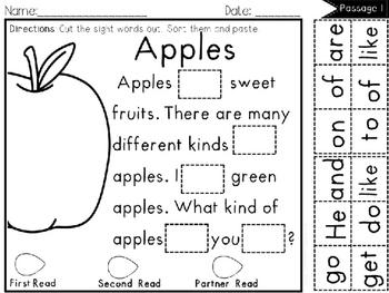 CUT and Paste Fluency Passages (Sight Word Edition Bundle)