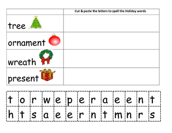 Cut and Paste Holiday Vocabulary