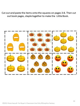 Halloween Math Center Count to 20 Fine Motor Cut and Paste  P-K K Special Ed