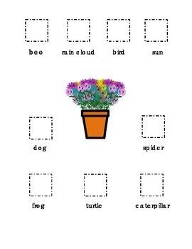 Cut and Paste Kindergarten Spring bee frog turtle flowers bird dog sun