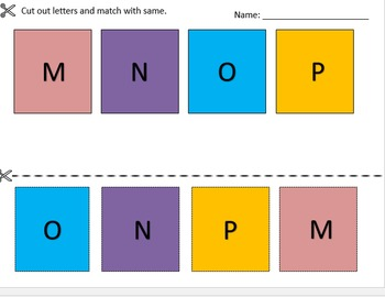 Cut and Paste Letter Matching