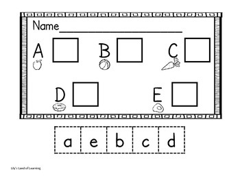 kindergarten letter matching worksheets cut and paste tpt. Black Bedroom Furniture Sets. Home Design Ideas