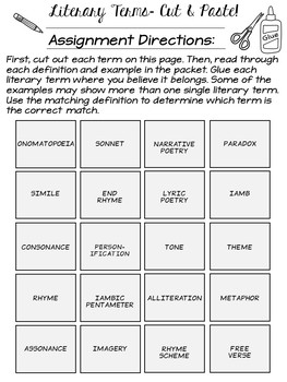 Literary Terms Cut & Paste Activity (Perfect for any Poetry Unit!)