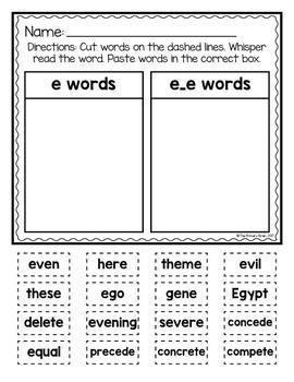 Cut and Paste Long Vowel Word Sort