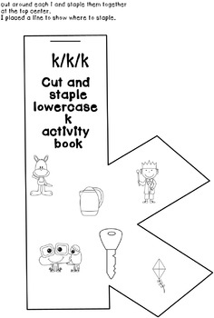 Cut and Paste Lowercase k Activity Book