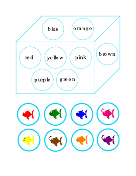 Cut and Paste Match Fish Colors to Color Words Fun Stuff Game ELA Colors 1page