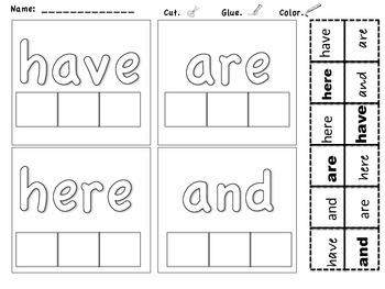 Cut and Paste Matching High Frequency Words