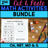 Cut and Paste Math Activities for Second Grade - Every Standard NO PREP BUNDLE