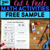 Cut and Paste Math Activities for Second Grade FREE - Distance Learning