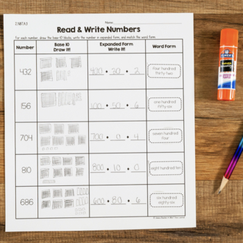 Cut and Paste Math Activities for Second Grade {NBT} NO PREP