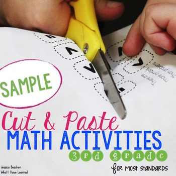 Cut and Paste Math Activities for Third Grade {Most Standard} FREE SAMPLE