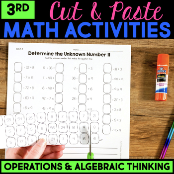Cut and Paste Math Activities for Third Grade {OA} NO PREP