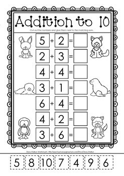 Cut and Paste Math Worksheets / Printables for Kindergarten / Grade One / Two