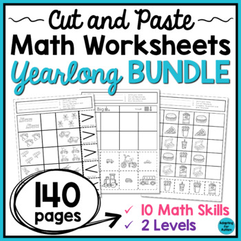 Cut and Paste Math Worksheets BUNDLE for Special Education and Autism