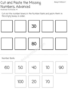 Cut and Paste Missing Numbers 10s to 100, Advanced Version