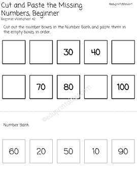 Cut and Paste Missing Numbers 10s to 100, Beginner Version