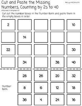 Cut and Paste Missing Numbers, Counting by 2s to 40, Advanced Version