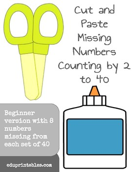 Cut and Paste Missing Numbers, Counting by 2s to 40, Beginner Version