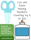 Cut and Paste Missing Numbers, Counting by 5s to 100, Advanced Version