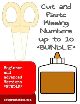 Cut and Paste Missing Numbers up 10, Beginner and Advanced Versions Bundle