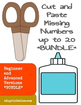 Cut and Paste Missing Numbers up to 20, Beginner and Advanced Versions Bundle