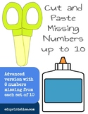 Cut and Paste Missing Numbers up to 10, Advanced Version