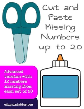 Cut and Paste Missing Numbers up to 20, Advanced Version