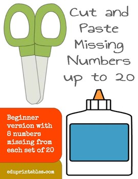Cut and Paste Missing Numbers up to 20, Beginner Version