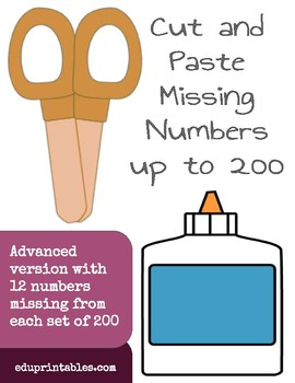 Cut and Paste Missing Numbers, Counting by 10s to 200, Advanced Version