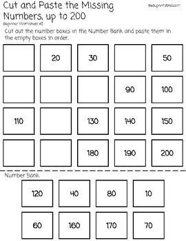 Cut and Paste Missing Numbers, Counting by 10s to 200, Beginner Version