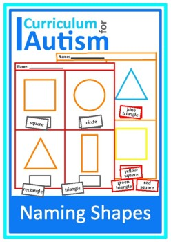 Autism Cut and Paste Naming Shapes Math Worksheets, Specia