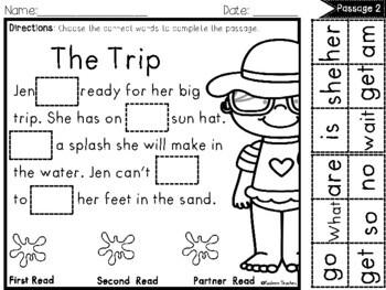 Cut and Paste Fluency Passages (Sight Word Edition- SUMMER)