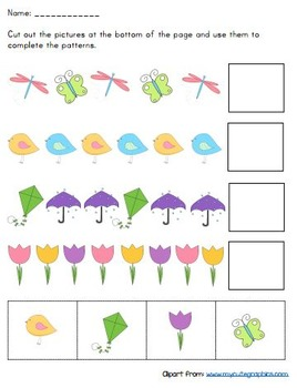 cut and paste pattern worksheets by playful learning tpt. Black Bedroom Furniture Sets. Home Design Ideas