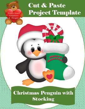 Cut and Paste Christmas Penguin with Stocking