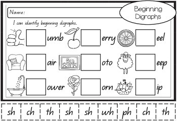Cut and Paste Phonics - Beginning Sounds, Digraphs & Blends