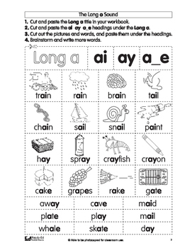 Cut and Paste Phonics Book 3: Long Vowel Sounds for Grades 1 and 2