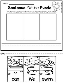 Cut and Paste Picture Puzzles & Sentence Builders {FREEBIE}