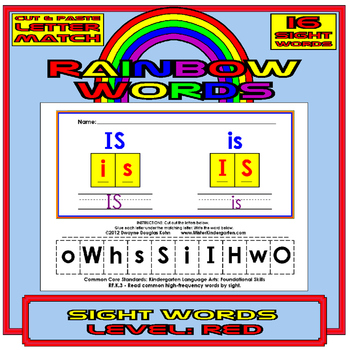 Cut and Paste Rainbow Sight Words RED Level