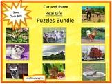 Cut and Paste Activities BUNDLE Photo Puzzles Center, Puzzles to Print